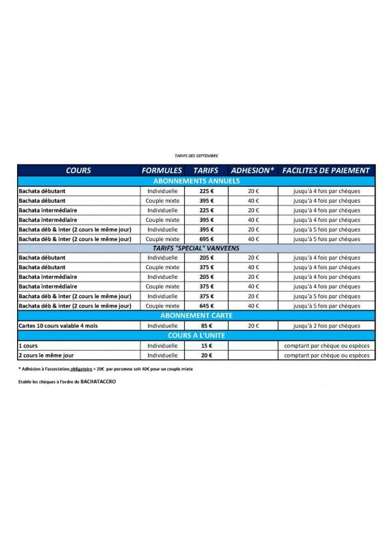 Tableau descriptif tarifs